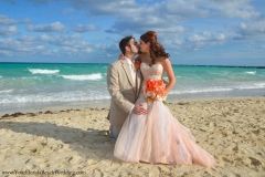 Miami Beach pink mermaid wedding dress