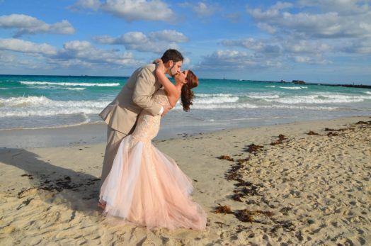 Kissing Miami Beach Wedding