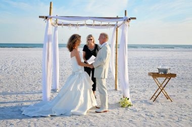 Elopement vows under bamboo canopy