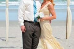 Beach wedding couple after eloping