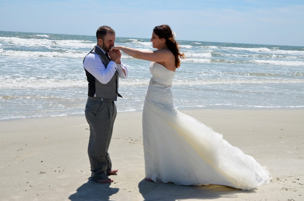 Bride and groom after beach wedding in St. Augustine, FL
