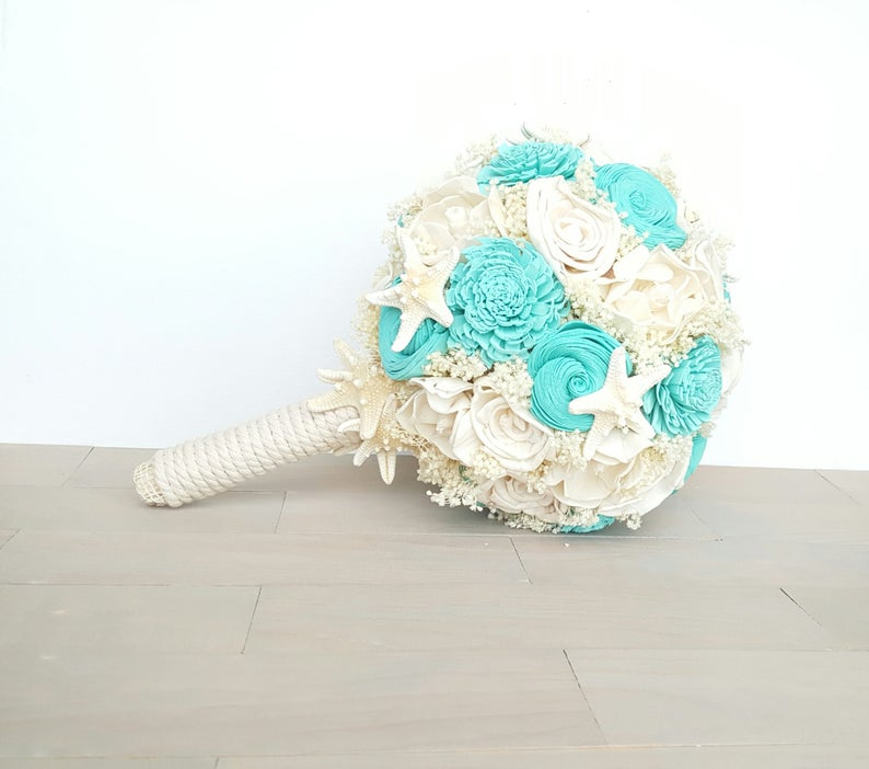 shell and flower bridal bouquet