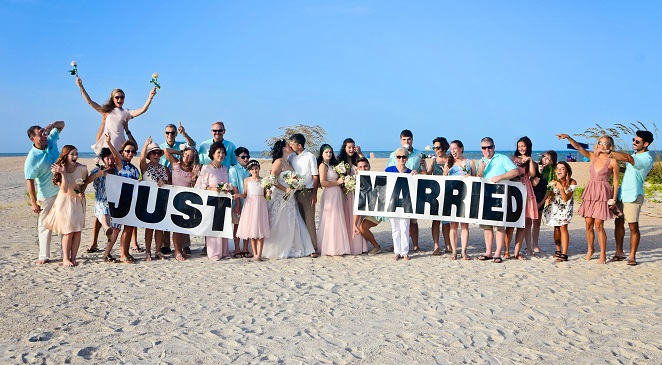 St. Augustine beach wedding party photo