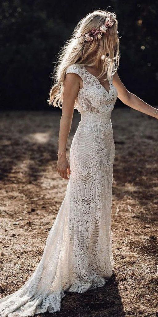Bride in boho beach wedding dress
