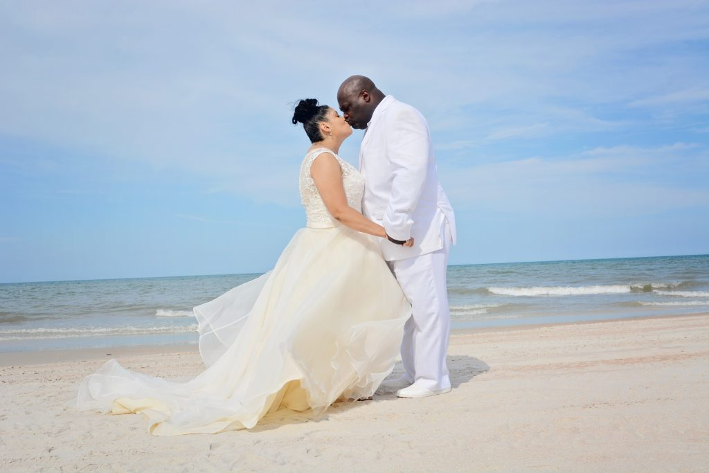 African American wedding couple on the beach