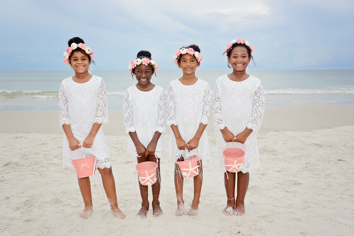 African American Flower Girls at Daytona Beach Wedding