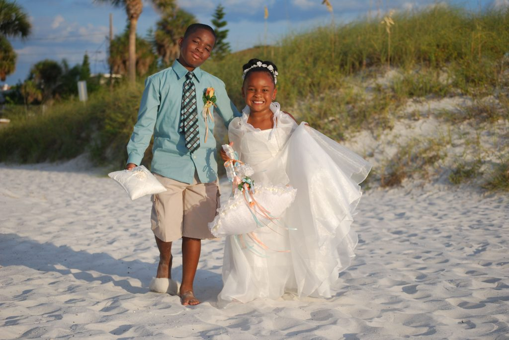 Flower Girl and Ring boy on the beach wedding