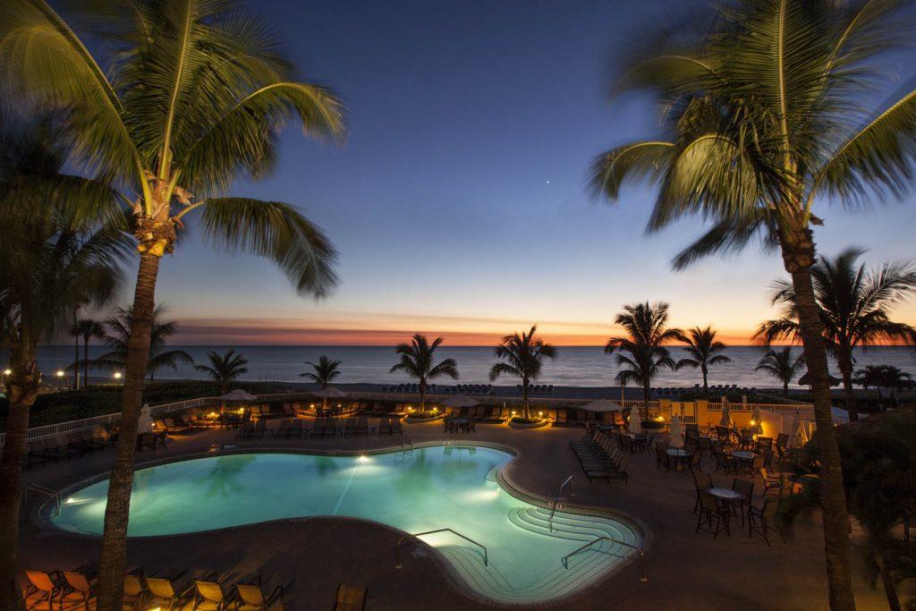 Lido Beach Resort pool at sunset