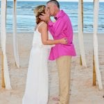 First kiss as a married couple during one of our Florida Beach elopements.