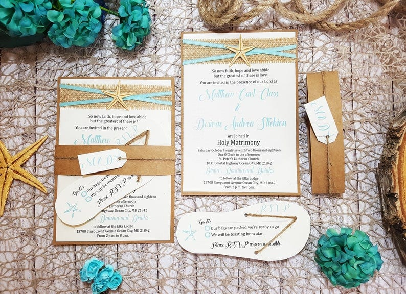 Wedding invitations with a beach theme and starfish design