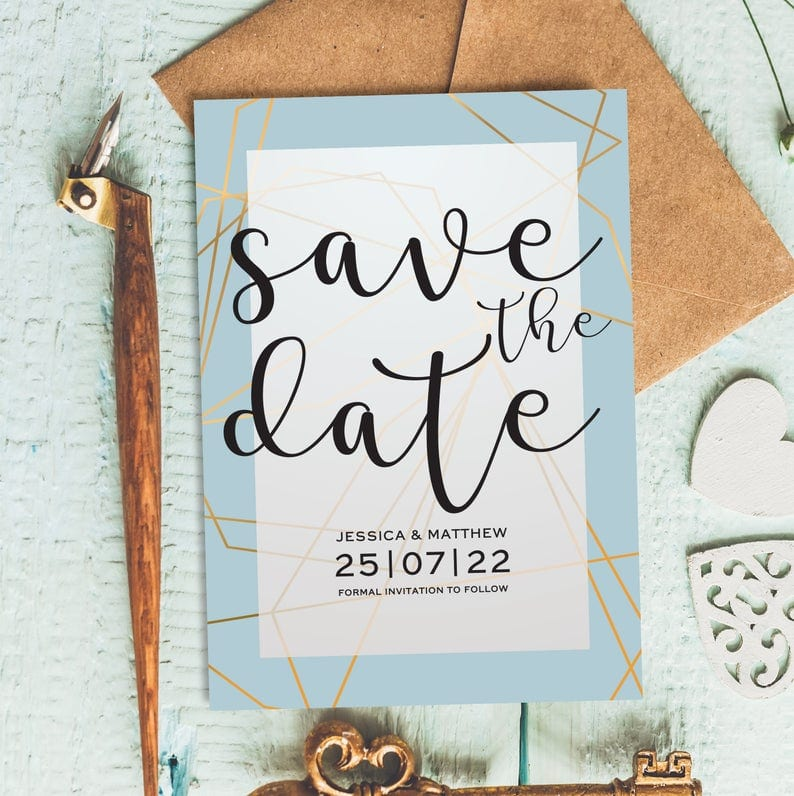 Teal save the date cards for a beach wedding
