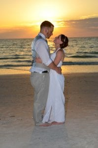 Clearwater Beach Weddings during sunset are the ideal time for posing for photos.