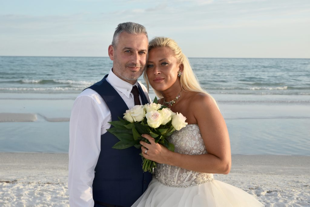 Siesta Key bride and groom