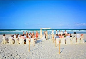 Wedding party and guests are here to support this happy couple at one of our Destination Weddings in Florida.