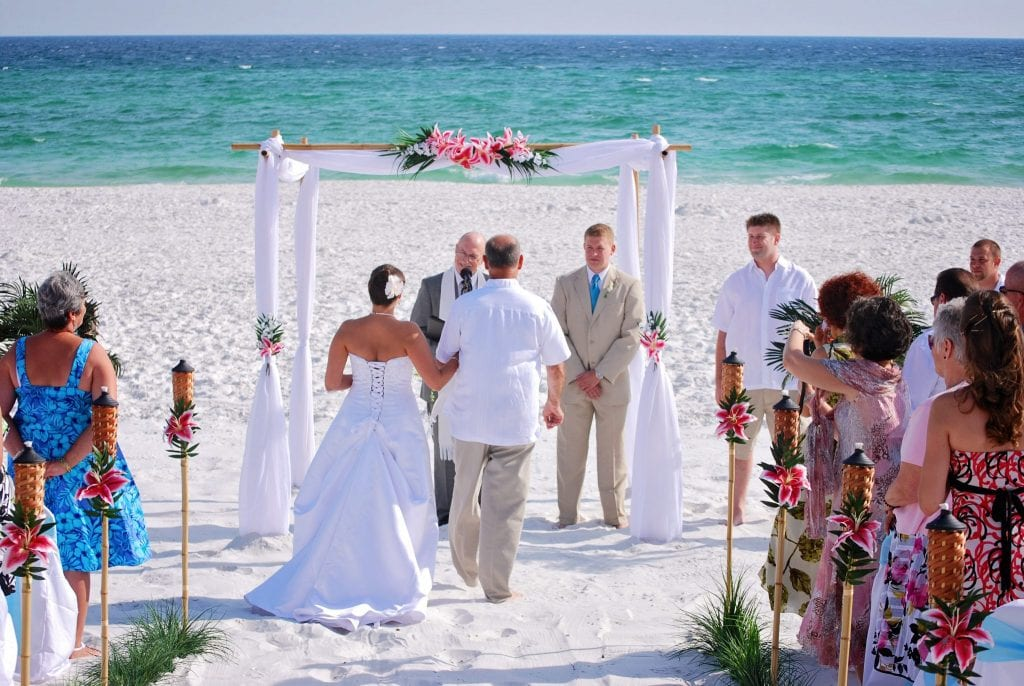 Destin Beach Wedding couple at altar