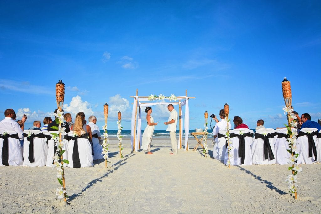 Jacksonville Beach Weddings in Florida with bamboo canopy, decor, photographer, officiant and more