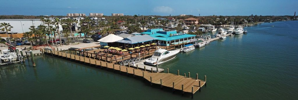 Off the Hook restaurant aerial view, Ponce Inlet, FL