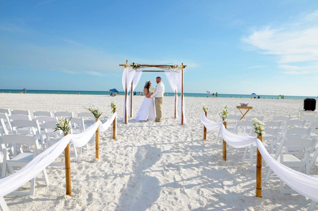 Weddings in Florida with draped aisle-way.
