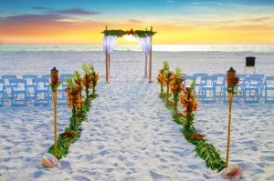 Our Tropical Distinctive package is featured at this Beach Wedding in Clearwater, Florida.