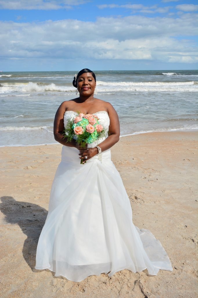 African American bride on St. Augustine Beach, FL