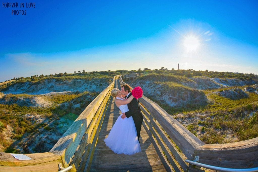 Daytona Beach Weddings at Ponce Inlet Beach Weddings with beautiful wooden walkways.