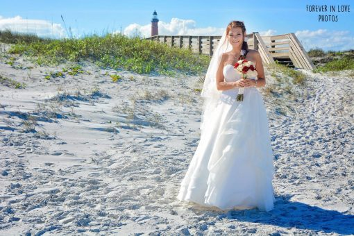 Bride on Ponce Inlet Beach near Daytona