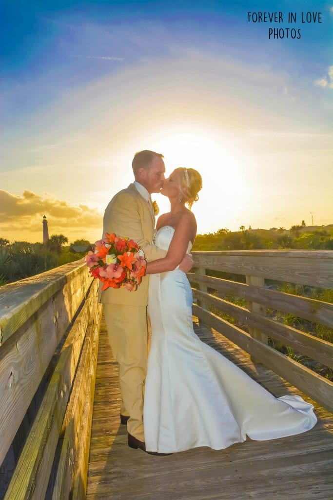 Ponce Inlet Beach Weddings with a sunset feel and views of the lighthouse.