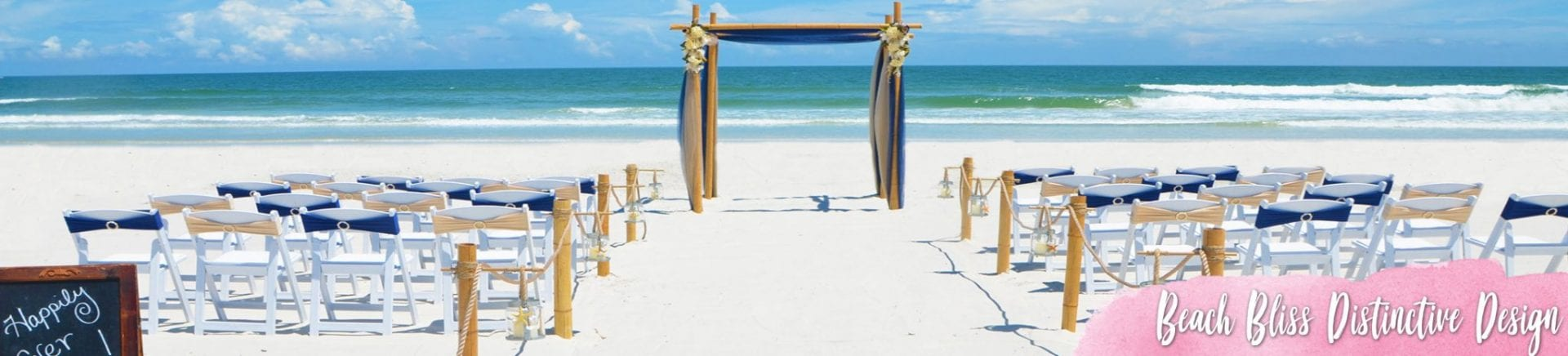 Beach wedding blue seaside design with white chairs