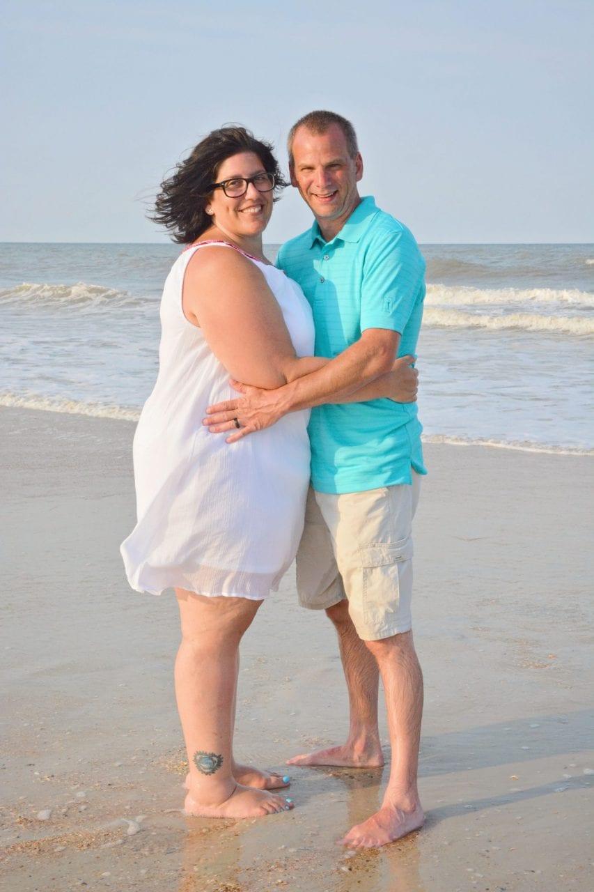 Wedding couple married at Anastasia State Park, Florida