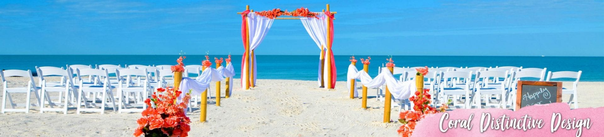 Coral color and white design wedding canopy on the beach