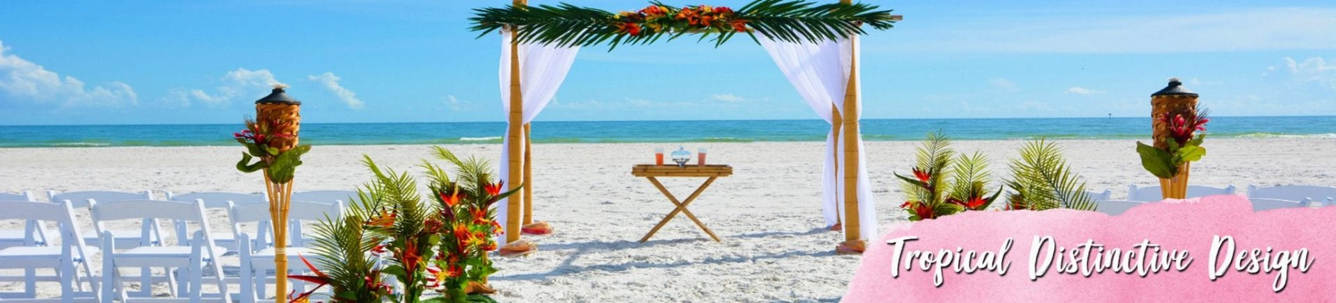 Tropical flower bamboo wedding canopy on the beach