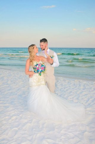 Couple on the sand at Destin Beach Wedding, FL