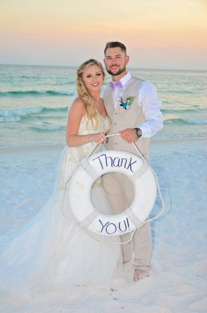 A sweet thank you photo for a destination beach wedding from one of our Destin, Florida beach weddings.