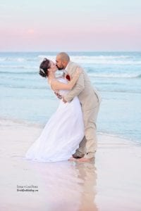 Sunset Daytona Beach Weddings with pink and blue sky.