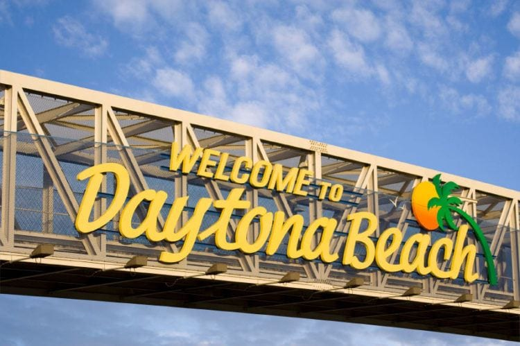 Daytona Beach sign over the street