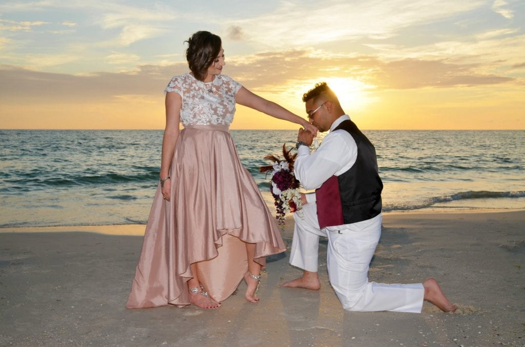 Sunset at a Treasure Island Beach wedding.