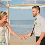 Pure excitement from the bride and groom after their Palm Coast, Florida beach weddings.