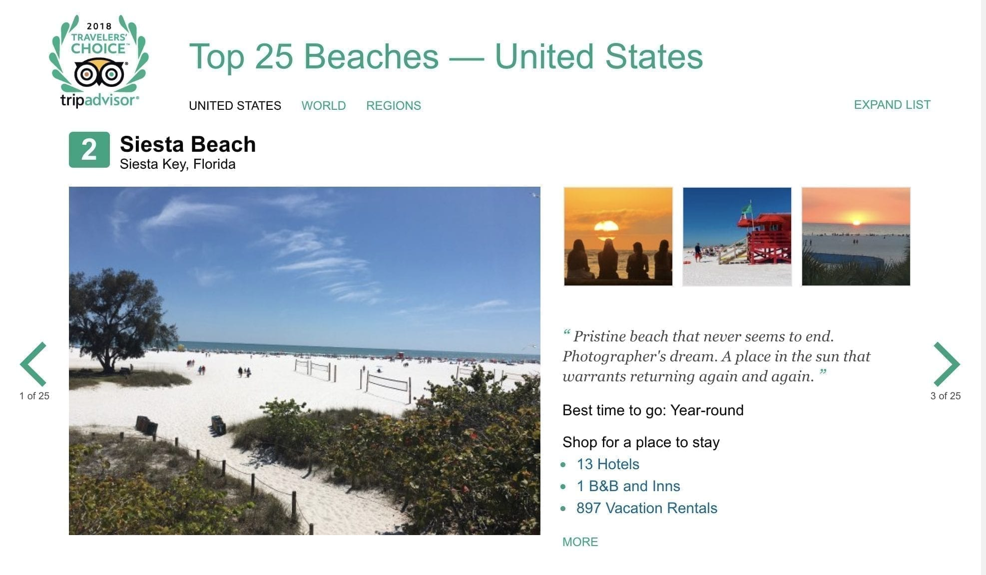 Siesta Key Beach on Trip Advisor screenshot