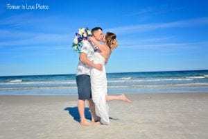 Daytona Beach Weddings with the groom dipping his bride.