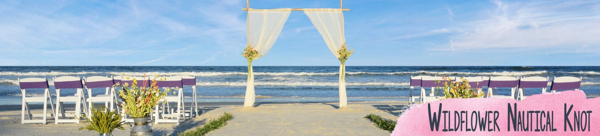 Beach wedding arch with flowers setup with chairs in Florida
