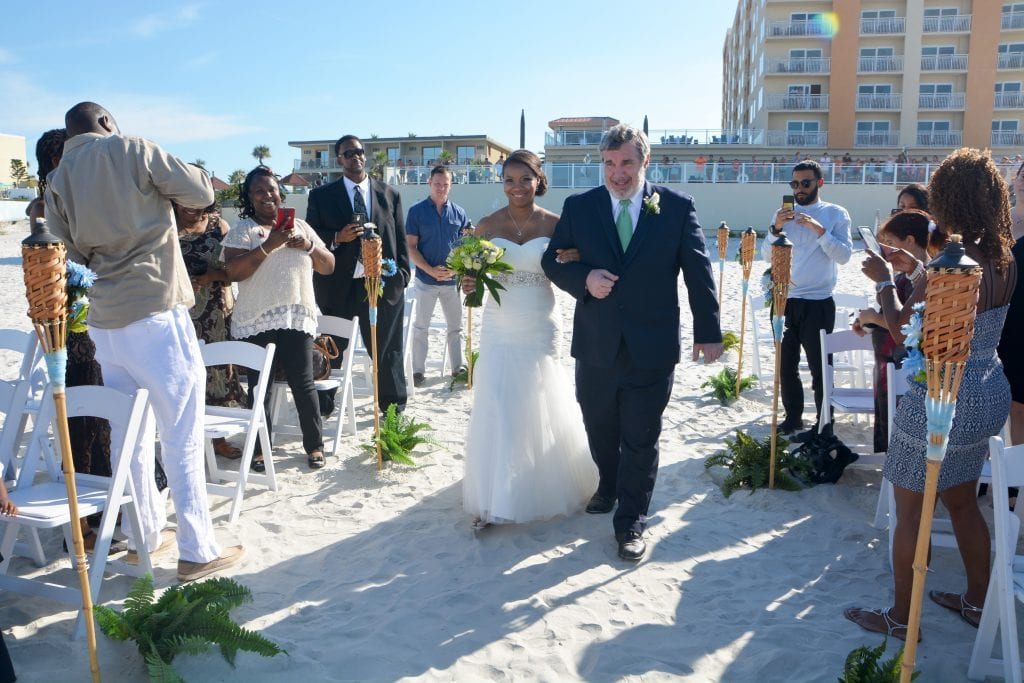 Hotel weddings in Daytona Beach, Florida on the sand at the Daytona Beach Shores Resort and Spa