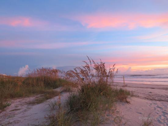 Sunrise over sand dunes on New Smyrna Beach, Florida