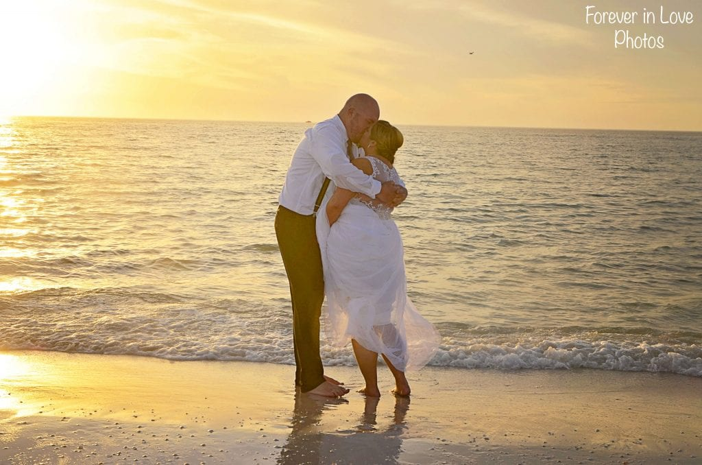 Clearwater Beach Weddings with beautiful views of the sunset and Gulf of Mexico.