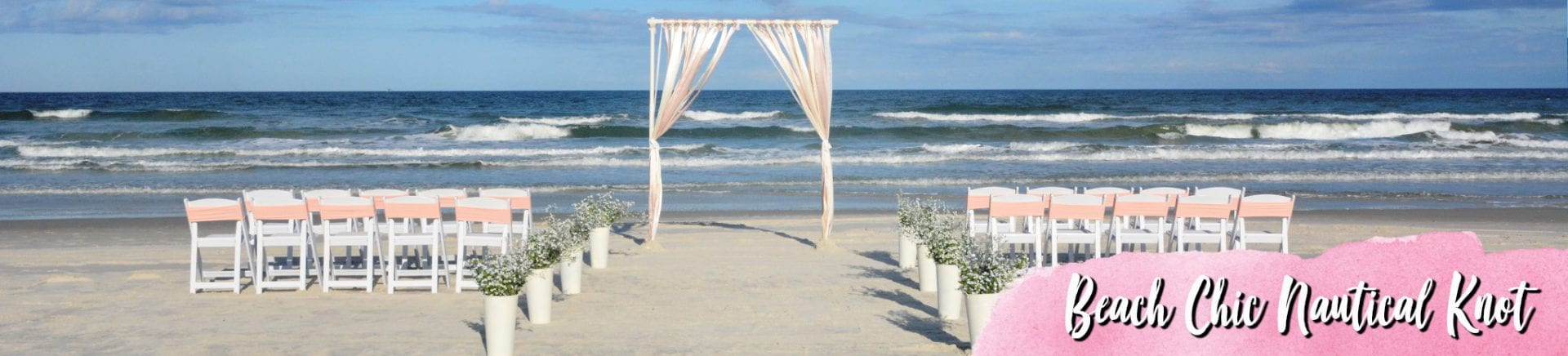 Blush tones on beach wedding arch and chairs