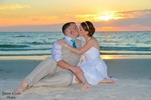 Clearwater Beach Weddings during the sunset hour are ideal for photo opportunities.