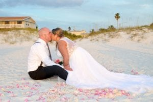 Clearwater Beach Weddings with beautiful dunes and romantic lighting.