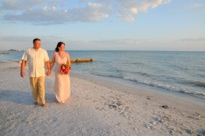 Clearwater Beach Weddings along the Gulf of Mexico with beautiful views of the sunset.