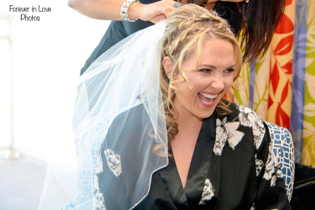 Daytona Beach bride getting ready for ocean wedding