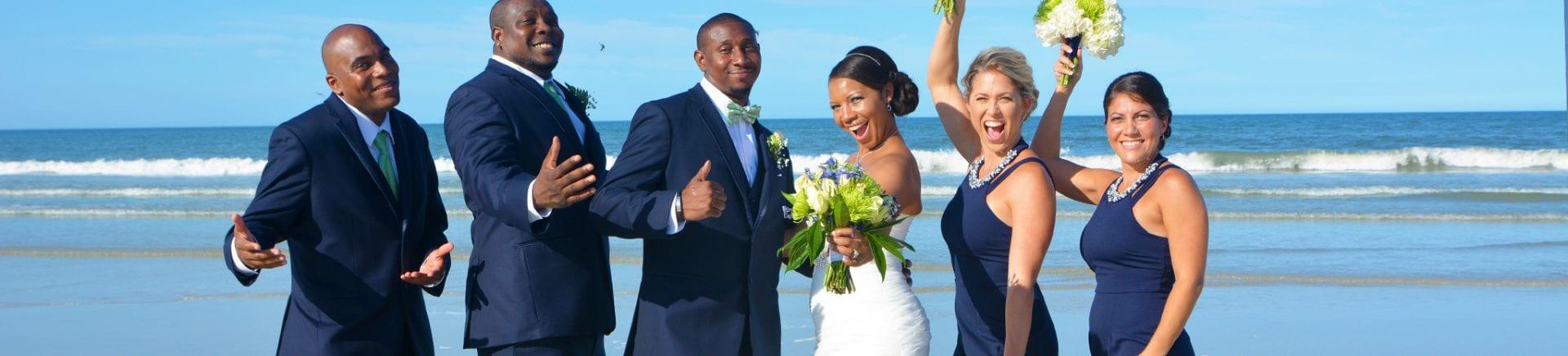 Wedding party celebrating on Daytona Beach