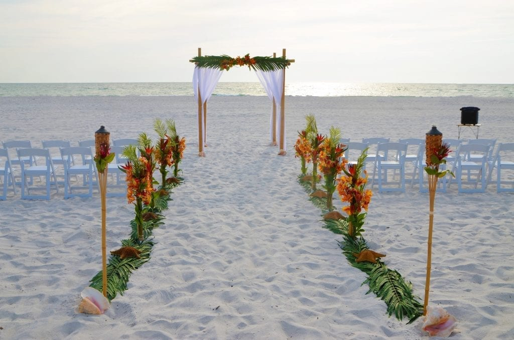 Our Tropical Distinctive Package is one of our colorful beach wedding packages.